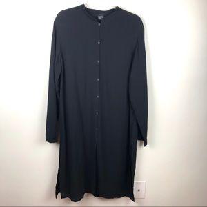 Eileen Fisher Silk & Wool Black Tunic Button Up L